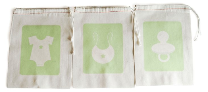 S/6 Baby Favor Bags, Green