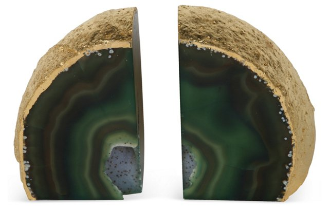 Emerald Agate Bookends, Pair