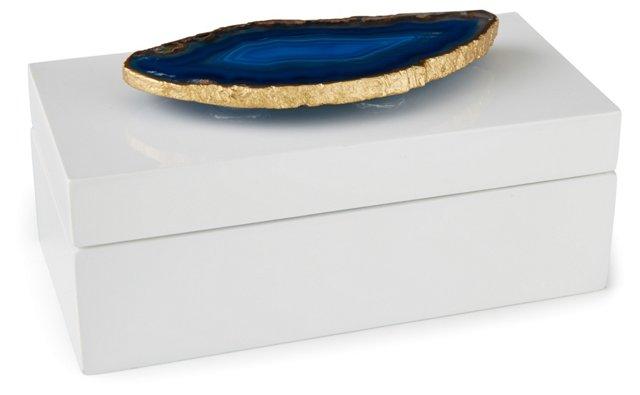Medium White Lacquer Box w/ Blue Agate