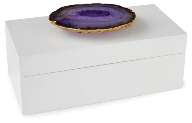 Medium White Lacquer Box w/ Purple Agate