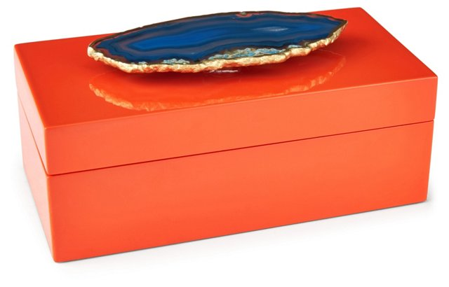 Medium Orange Lacquer Box w/ Blue Agate