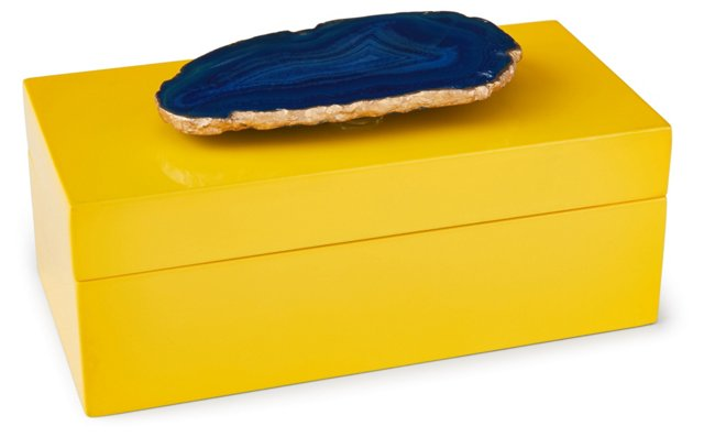 Medium Yellow Lacquer Box w/ Blue Agate