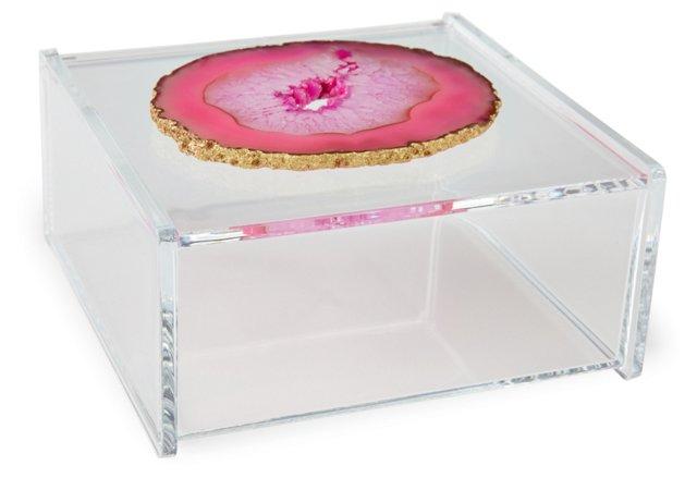 Large Acrylic Box w/ Pink Agate