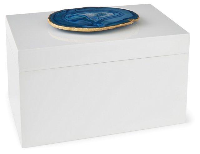 White Remote Lacquer Box w/ Blue Agate