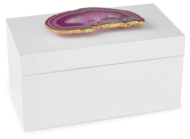 Large White Lacquer Box w/ Pink Agate