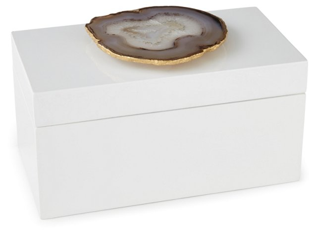 Large White Lacquer Box w/ Natural Agate