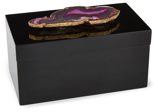 Large Black Lacquer Box w/ Pink Agate