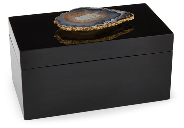 Large Black Lacquer Box w/ Natural Agate