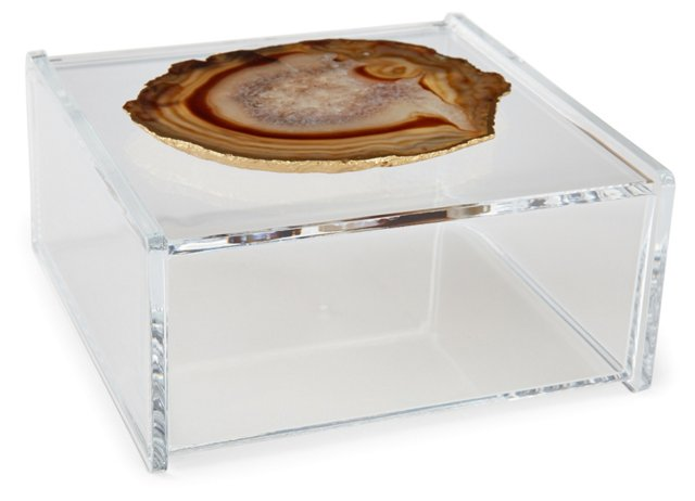 Large Acrylic Box w/ Natural Agate