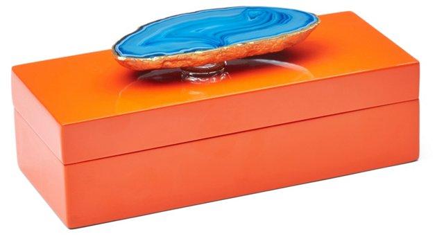 Small Orange Lacquer Box w/ Blue Agate