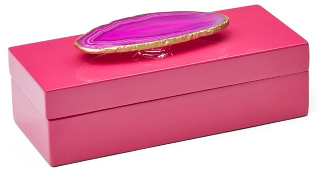 Small Pink Lacquer Box w/ Pink Agate