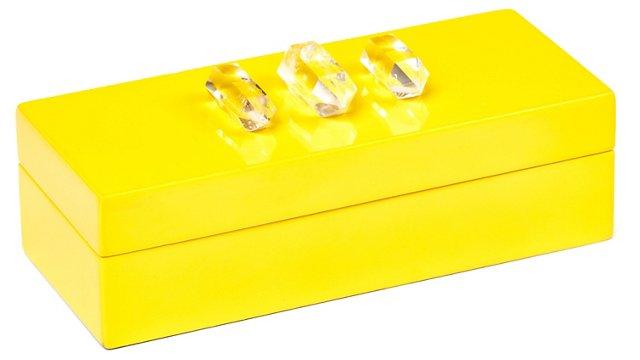 Small Yellow Lacquer Box w/ Quartz Trio
