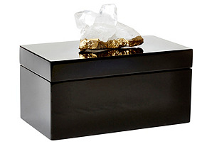 Large Black Lacquer Box w/ Quartz*
