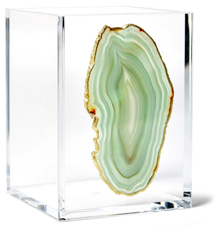 Small Acrylic Vessel w/ Green Agate