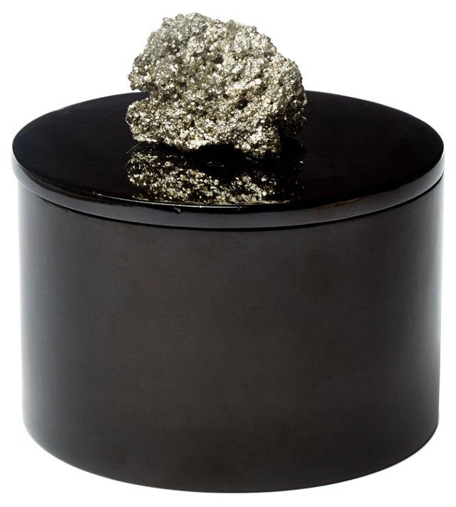 Round Black Lacquer Box w/ Pocado