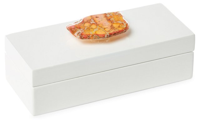 Small White Lacquer Box w/ Orange Jasper