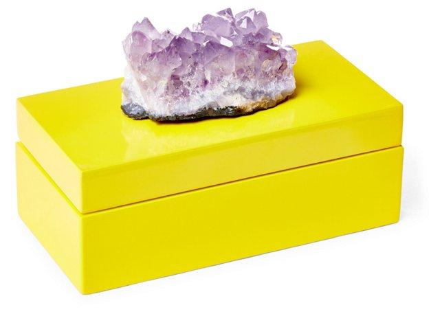 Medium Yellow Lacquer Box w/ Amethyst