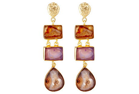 Agate & Drusy Trio Drop Earrings