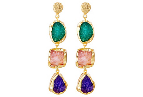Trio Drusy Rock Candy Drops, Pink/Purple