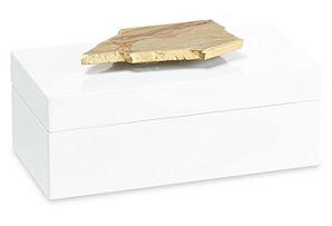 Medium White Lacquer Box w/ Gold Jasper*