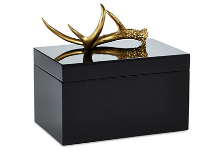 Remote Black Lacquer Box w/ Gold Antler