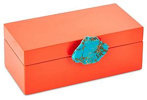 Medium Orange Box w/ Turq. Jasper Knob*