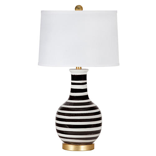 Madison Table Lamp, Black/White