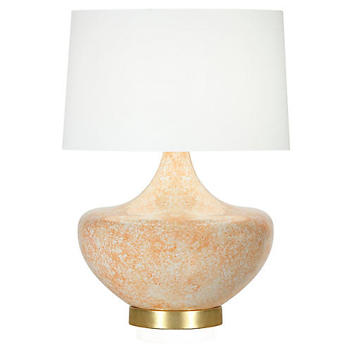 Palmetto Table Lamp, Coral/White