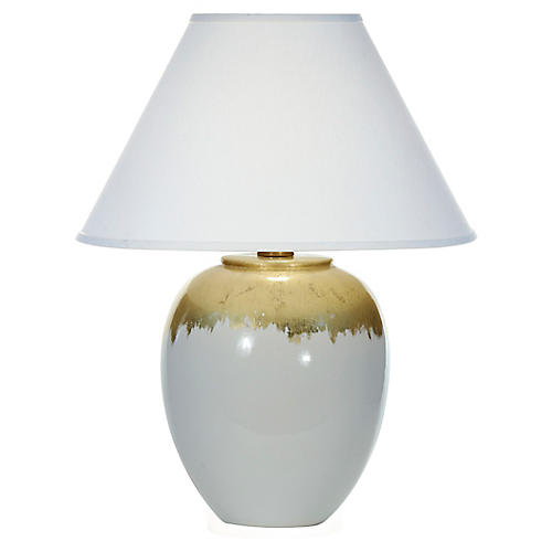 Elsa Table Lamp, White/Gold Leaf Drip