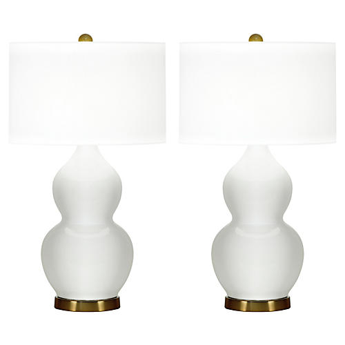 S/2 Ainsley Table Lamps, White