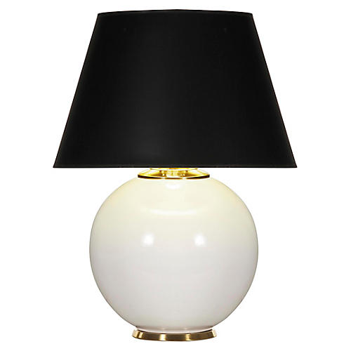 Pomona Table Lamp, White Gloss/Black
