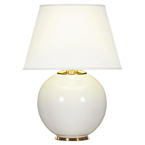 Pomona Table Lamp, White Gloss/White
