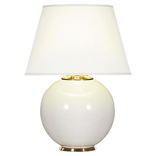 Pomona Table Lamp, White Gloss/White