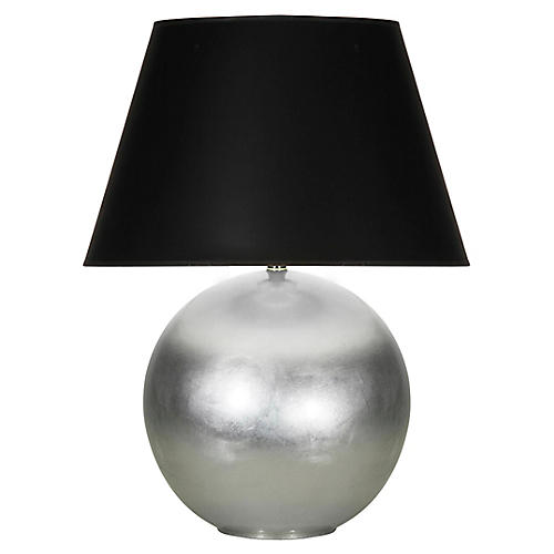 Pomona Table Lamp, Silver Leaf/Black