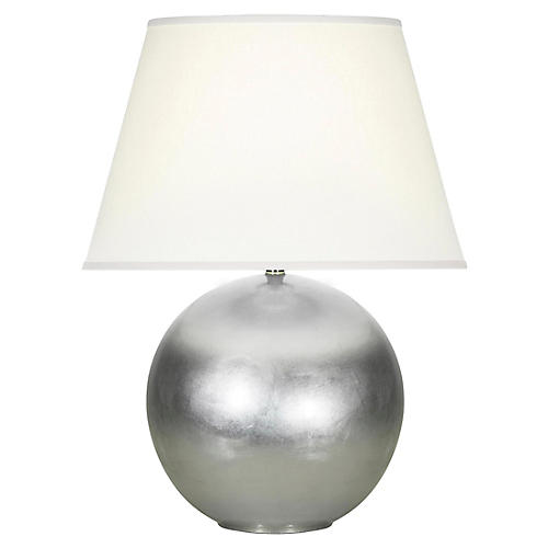 Pomona Table Lamp, Silver Leaf/White