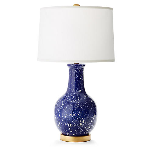 Madison Table Lamp, Navy/White