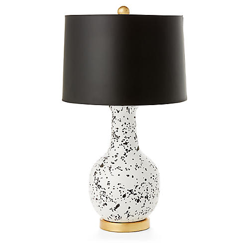 Madison Table Lamp, White/Black