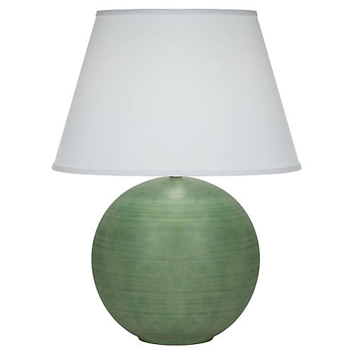 Pomona Table Lamp, Matte Green/White
