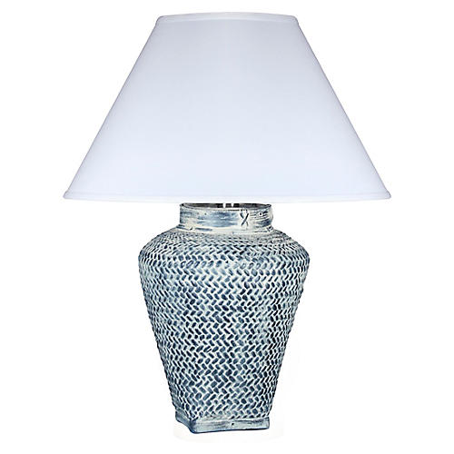 Positano Table Lamp, Whitewash Blue