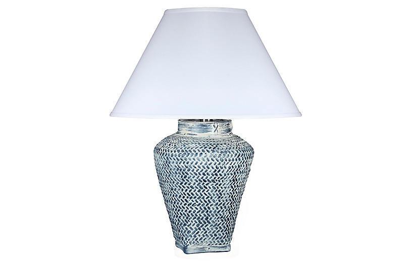 One Kings Lane - Positano Table Lamp, Whitewash Blue   One ...