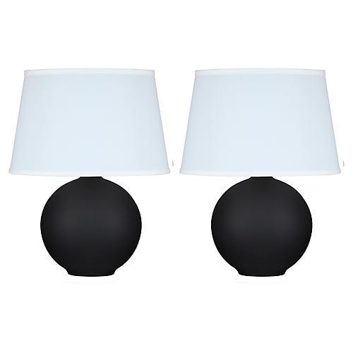 S/2 Mini Pomona Table Lamps, Matte Black