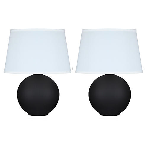 S/2 Mini Pomona Table Lamps, Matte Black
