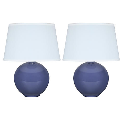 S/2 Mini Pomona Table Lamps, Parisian Blue