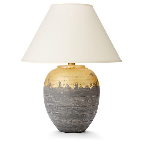Elsa Table Lamp, Gray/Gold