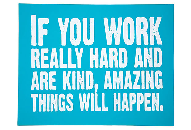 Work Hard Print, Light Blue