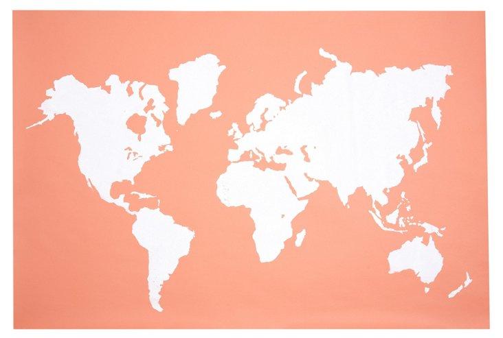 Modern Map Print, Coral