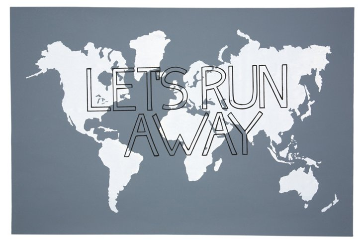 Let's Run Away Print, Gray