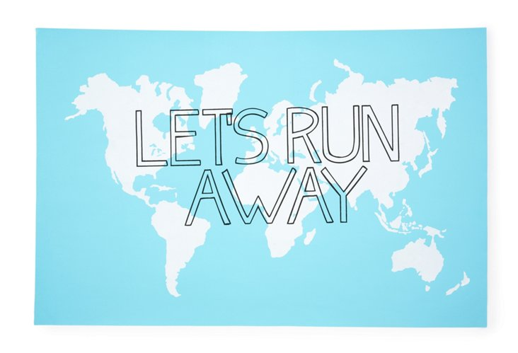 Let's Run Away Print, Blue