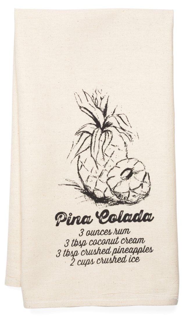 """""""Pina Colada"""" Tea Towel, Black"""