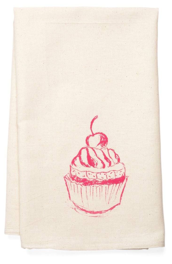 Cupcake Tea Towel, Rose